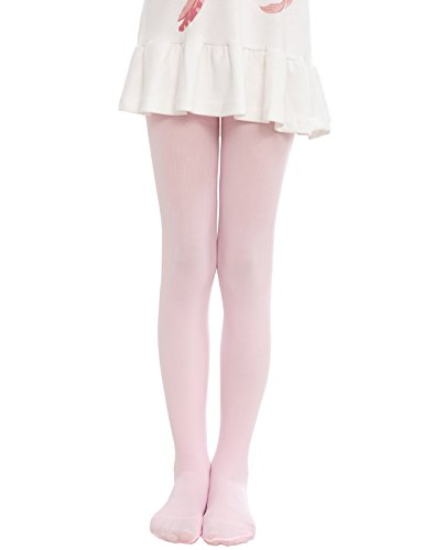 (Anlaey Dance Footed Tights Microfiber Pro Ballet Solid Colored Stockings tight for Girls Kids Pink Medium)