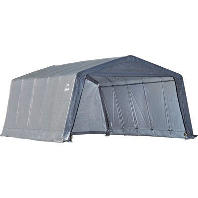 ShelterLogic Peak Style Garage-in-a-Box, Grey, 12 x 20 x 8 ft. (Style Garage Round Boat)