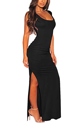 Pink Queen Women's Summer Sleeveless Low Cut Side Slit Ruched Bodycon Tank Dress S Black
