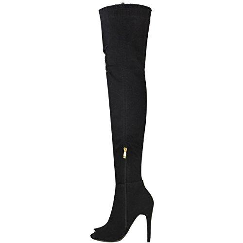 Negro Sobre Mujer De Botas Talla Denim Zapatos Muslo Alto Vaqueros Rodilla Tacón Elástico Tacón aw7wq6g