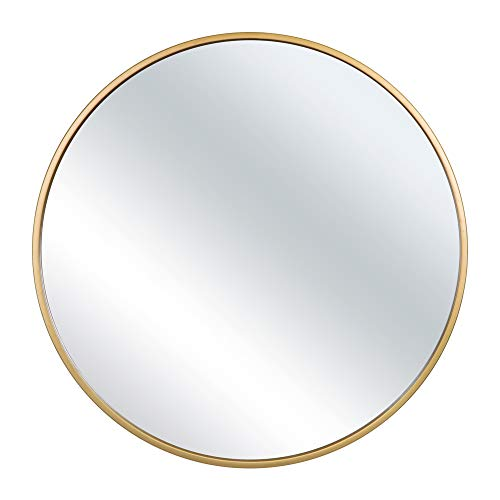 IDIPOO 27.56 Inch Circle Mirror for Wall - Large Round Contemporary Mirror for Accent Bedroom Living Room Entryway, Metal Gold Frame (Mirror With Circles)