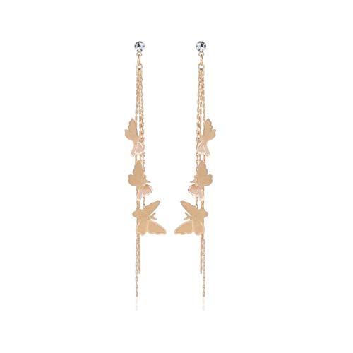Lovely Double Butterfly Crystal Long Tassel Dangle Earrings for Women Girl Fashion Jewelry Accessories (Gold-1) (Dangle Double Butterfly)