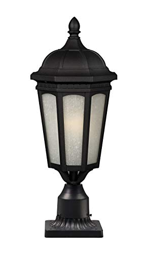 Z-Lite 508PHB-533PM-BK Newport One Light Outdoor Post Mount Light, Metal Frame, Black Finish and White Seedy Shade of Glass Material