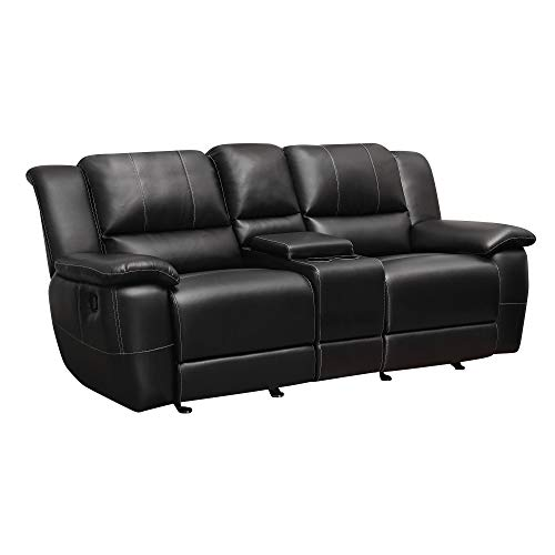 Lee Double Reclining Gliding Loveseat with Console Black