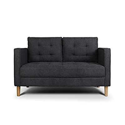 "AODAILIHB Modern Soft Cloth Tufted Cushion Loveseat Sofa Small Space Configurable Couch 54.3"" (Dark Grey) - AODAILIHB sofa is a modern minimalist design, double-layer fabric sofa, classic tufted design, doll cotton pad, softer and more comfortable. Solid wood frame, stable and not easy to shake. The buffer spring is supported, full of elasticity and does not deform. Made from high breathable short velvet fabric, it is soft and warm. The mat is filled with a large amount of doll cotton to provide a comfortable support for the back. - sofas-couches, living-room-furniture, living-room - 31GnquOvvgL. SS400  -"