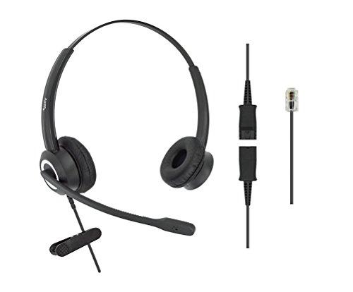 DailyHeadset RJ9 Corded Office Phone Noise Canceling Headset MITEL Nortel Meridian Polycom Packet 8 ShoreTel Xblue Landline Telephone (Binaural) ()