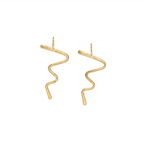 Sterling Silver Squiggle Wire Earrings - Lucille Bronze Statement Earrings with 14k Gold-fill Ear Wires/Squiggle