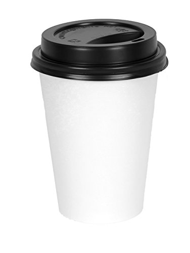 2dayShip WHITE Paper Coffee Hot Cups with BLACK Travel Lids - 12 ounce (50 (Black Hot Cup Lid)