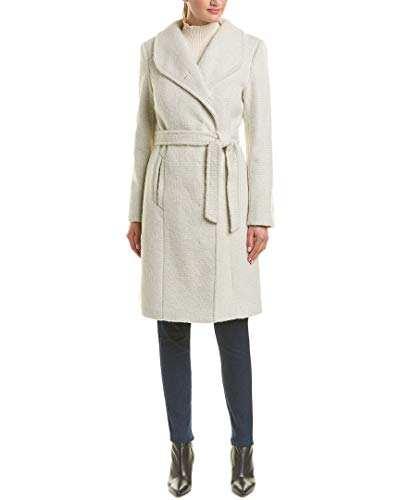 Belted Wool Via Coat (Cole Haan Women's Belted Asymmetrical Coat w/Shawl Collar Stone 8)