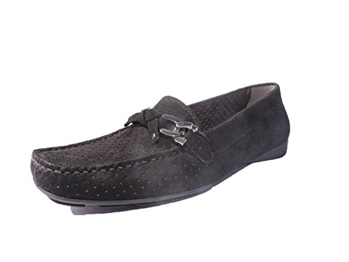 (Stuart Weitzman Womens Lincoln Suede Loafers Black Flats, Shoes Size 5.5 M)