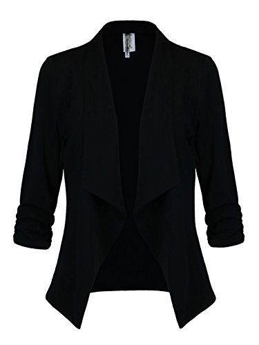 Instar Mode Women's Versatile Business Attire Blazers in Varies Styles (B12316 Black, Large) by Instar Mode