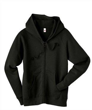 Hanes Womens Fleece Full-Zip Hood - 8 oz Black Small Hanes 8 oz Womens