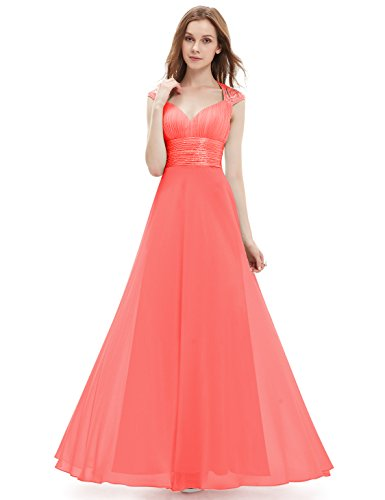 Ever-Pretty Juniors Empire Waist Ruched Bust Sequins Long Prom Gown 16 US Coral -