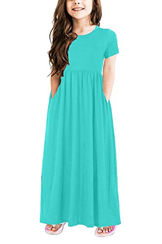 storeofbaby Girls Summer Maxi Dress Short Sleeves Plain Long Casual Dresses Pure Green