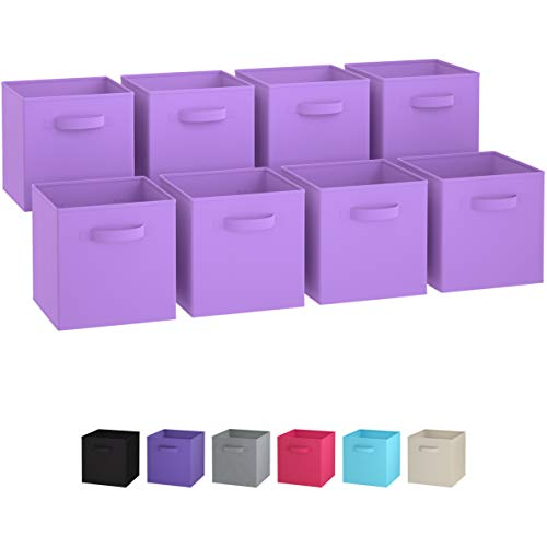Royexe - Storage Cubes - (Set of 8) Storage Baskets | Features Dual Handles | Cube Storage Bins | Foldable Fabric Closet Shelf Organizer | Drawer Organizers and Storage (Purple)