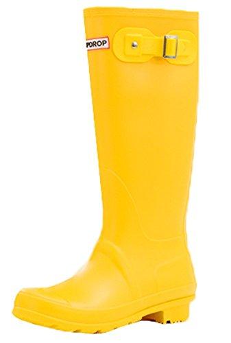 Rain Shoes Anti Daily Work Pull on Womens Boots skid Mewow Yellow Waterproof qz7BxvnBU
