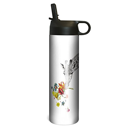 (Tree-Free Greetings SP67146 Checking in Giraffe Vacuum-Insulated Stainless Steel Sportiva Tumbler, With Internal Straw, 17 Ounce)
