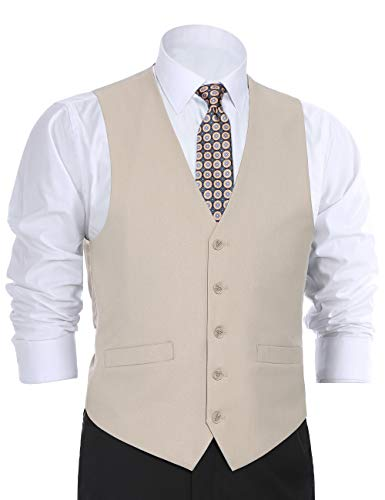 (CHAMA Men's Suit Dress Vest Waistcoat Regular Fit Vest - Many Colors (40 Regular, Beige))