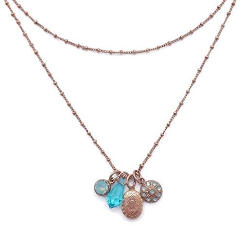 (Catherine Popesco Pacific Opalescent & Aqua Swarovski Crystal Goldtone Layered Locket Charm Necklace)