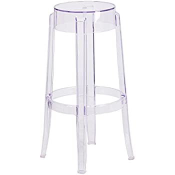 Amazon Com Modway Casper Bar Stools In Clear Set Of 2