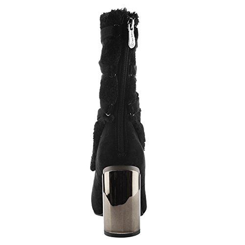 CAPE ROBBIN Womens Adira Strappy Bootie Mid Calf Block Round Heel Almond Toe Boots Black FKdYiXVxO