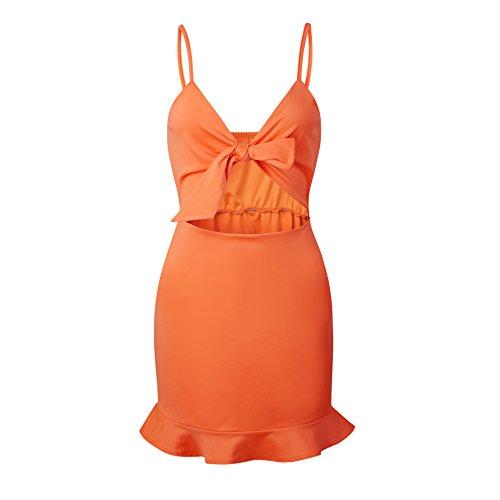 RAFAGO Strapless Chest Ruffle Dress, Orange