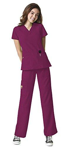 WonderWink Four-Stretch Women's Medical Uniforms Scrub Set Bundle- 6214 Sporty V-Neck Top & 5214 Elastic Waist Cargo Pant & MS Badge Reel (Wild Rose - X-Small/XSmall Petite)