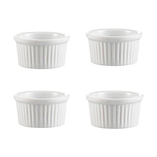Professional Porcelain Ramekins Bakeware, 4 OZ Souffle Cups Dishes Fine White (Set of 4) Easy to Clean Oven Safe by Culinary Depot (Image #3)