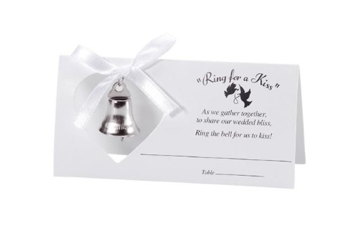 Darice VL2019, Ring For A Kiss Placecard with Bell, 24-Pieces