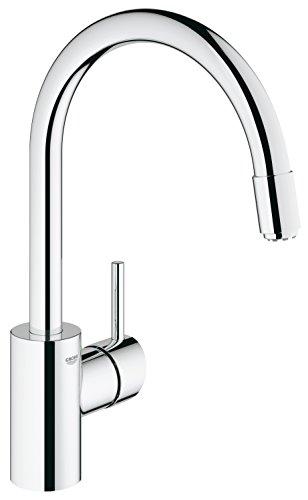 Grohe Concetto Küchenarmatur, hoher Auslauf zum Herausziehen, Schwenkbereich 360°, Niederdruck für offene Warmwasserbereiter, 31212001