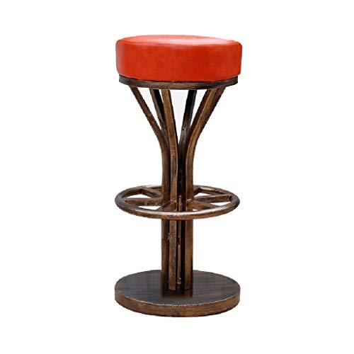 Counter Height Bar Stool, High Stool/PU Leather Sponge Seat/Seat Height 75cm / Retro Style/Black, Brown, Orange (Color : Orange)