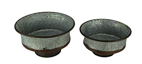 Things2Die4 Rusty Galvanized Metal Footed Bowls Vintage Farmhouse Decor Set of 2