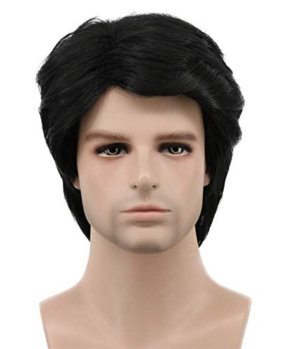 Karlery Mens Short Curly Fluffy Dark Black Wig Halloween Costume Wig Cosplay Party Wig]()