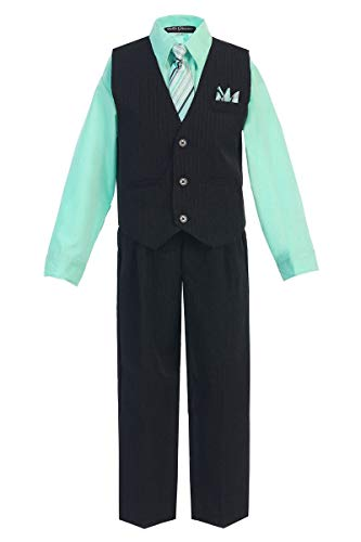 iGirldress Little Boys' and Special Occasion Pinstripe Vest Set Black/Hawaiian Blue 5 (Special Occasion Boys Clothing)
