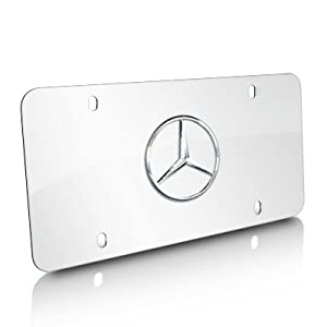 Mercedes benz chrome star logo on polished for Mercedes benz license plate logo