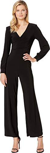 Adrianna Papell Women's Long Sleeve Matte Jersey Wide Leg Jumpsuit, Black, 2
