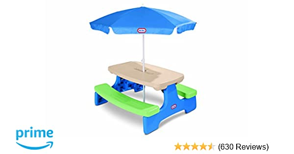 Amazoncom Little Tikes Easy Store Picnic Table With Umbrella Toys