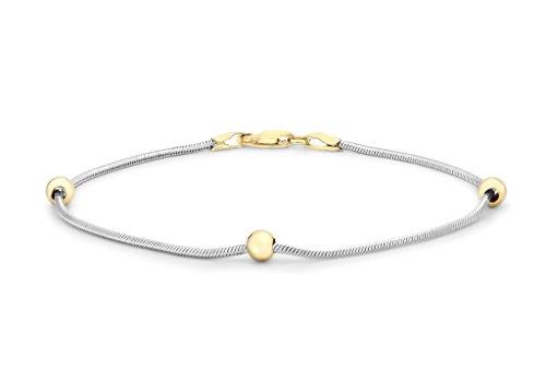 9ct or 2couleurs Boule et chaîne serpent Bracelet 18cm/7'