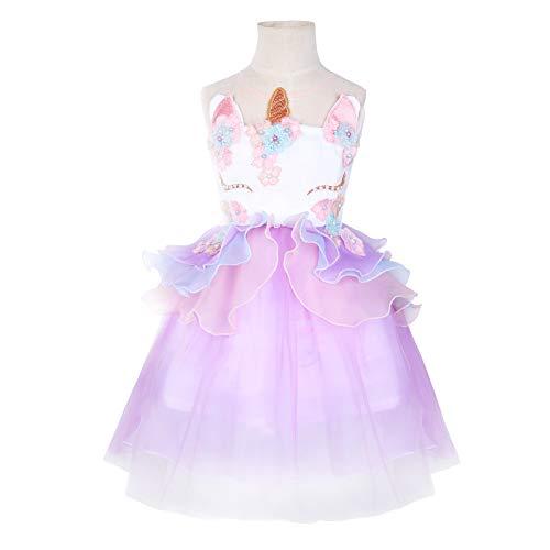 Girls Unicorn Costume Party Dress Tutu Kids Cute Flower Princess Pageant (6T) Purple -