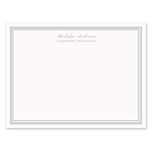 - Clairmont Personalized Note Cards - 4 1/8 inches x 5 1/2 inches, Heavyweight Stock, Matching Envelopes, (Set of 10), by Fine Stationery