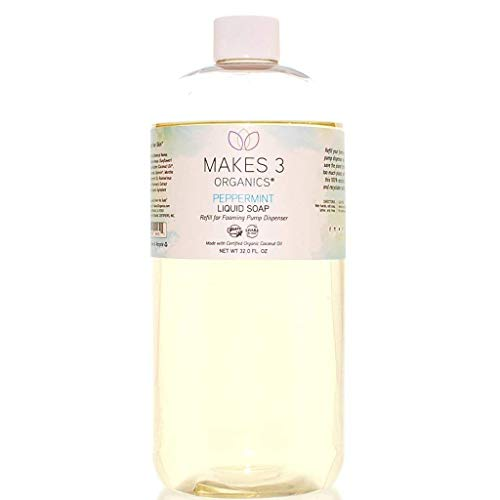 Makes 3 Organics Foaming Liquid Soap Refill, Clear, Peppermint, 32 Fluid Ounce