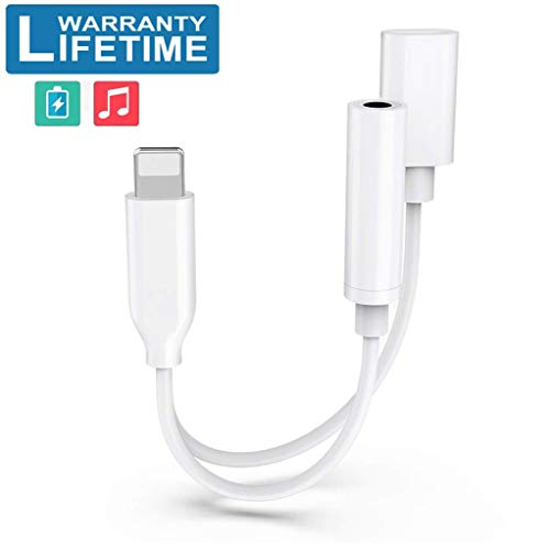 Adapter for iPhone Headphones Dongle Splitter Jack Adaptor for iPhone X/Xs Max/XR/8/8 Plus/7/7 Plus Dual Ports Adapter Earphone Car Charger & AUX Audio Connector Support iOS 12 or Later - White (Car Charger Jack)
