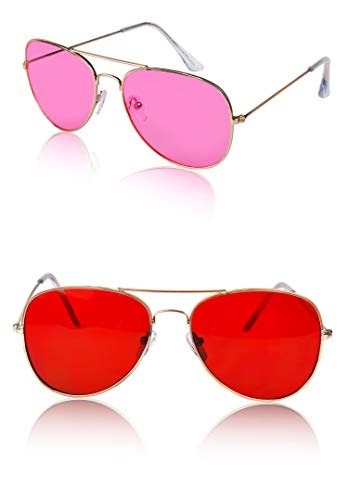 Womens Aviator Glasses For Women Men Sunglasses Designer 2 Pack Two Hot Pink - Sunglasses Mens Red