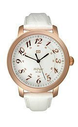Tommy Hilfiger Olivia White Dial White Leather Ladies Wat...
