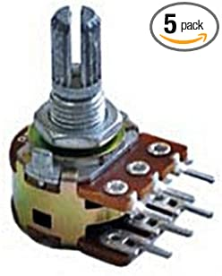 5 x 1M OHM Linear Dual Taper Rotary Potentiometers