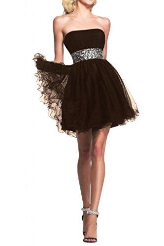 Novia de novia sin tirantes de la Toscana por la noche vestidos de tul vestido corto fiesta De antiguos alumnos de la fiesta de cóctel marrón