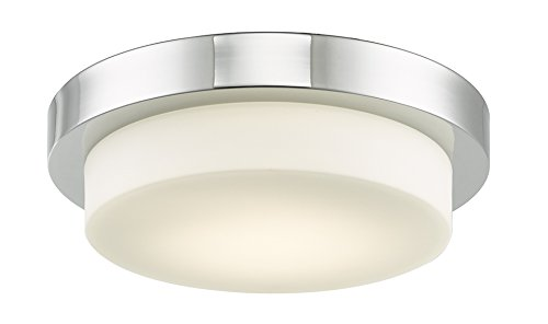 Abra Lighting 30014FM-CH Step – 11″ 16W 1 LED Flush Mount, Chrome Finish with Opal Glass For Sale