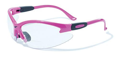 Global Vision Eyewear Cougar Bifocal Series Sunglasses with Dark Pink Nylon Frame and +2.0 Clear Safety - Vision Global Safety Glasses