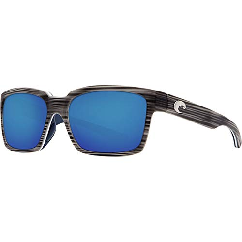 Costa Del Mar Playa Sunglasses, Matte Silver Teak/White/Blue, Blue Mirror 580P Lens