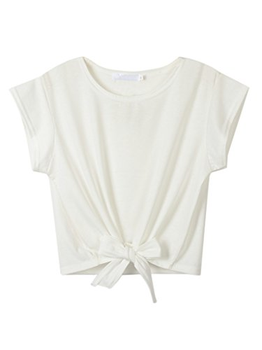 Persun Women White Tie Front Crop Top Crewneck Short Sleeve T-shirt, White, Small